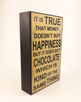 Holz-Bild 'Happiness & Chocolate' jetzt bei fox and badger bestellen!